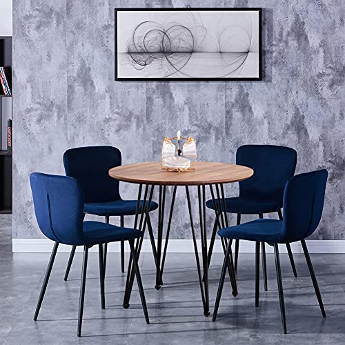 GOLDFAN Modern Dining Table and 4 Chair Set Round Wooden Brown Table and Soft Blue Velvet Chairs for Kitchen Dining Room