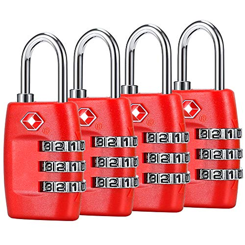 TSA Luggage Locks (4Pack) - 3 Digit Combination Padlocks - Approved Travel Lock for Suitcases & Baggage (Red)