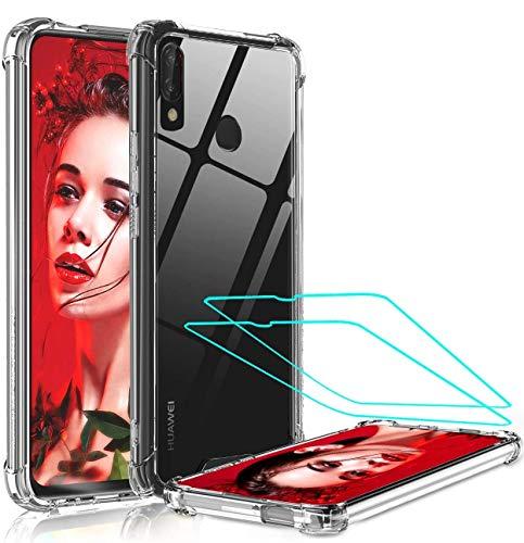 LeYi für Huawei P Smart Z Hülle Handyhülle mit Panzerglas Schutzfolie(2 Stück), Neu Transparent Cover Hard PC Air Cushion Bumper Schutzhülle Handy Hüllen für Hülle Huawei P Smart Z Crystal Clear