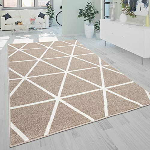 Paco Home Tapis De Salon Poils Ras Style Scandinave Losanges Moderne Beige Blanc, Dimension:140x200 cm