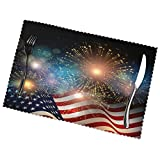 Firework United States Memorial Day Placemat Set of 4 Desktop Decor Place Table Mat Washable Non Slip Stain Resistant for Dining Home Kitchen Indoor 12x18 in