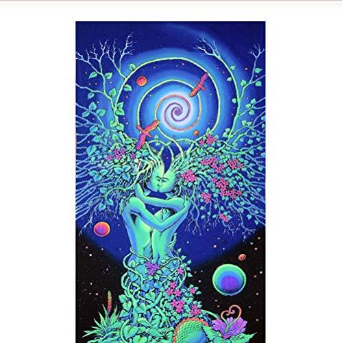 Natur Wandbilder Schwarzlicht aktive psychedelische Tapisserie Mandala Hippie Tapisserie böhmische Wandbehang, bunte Fantasie Tapisserie für Kinderzimmer Schlafsaal Wohnzimmer Schlafzimmer200 × 150 cm