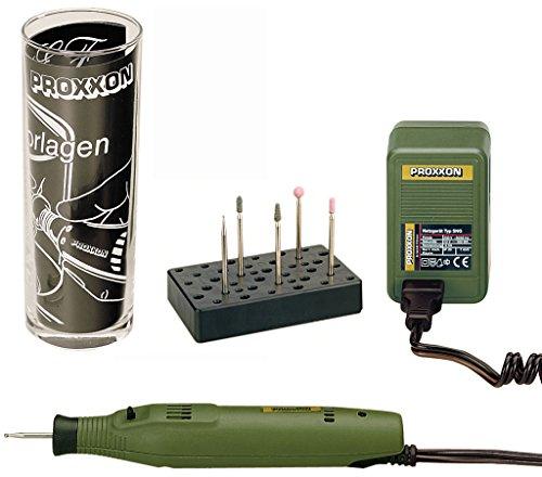 Proxxon Graviermaschine GG 12 Komplettset, leistungsstarkes Graviergerät mit Probierglas, Gravierset für Glas und Holz, grün, Art.-Nr. 28635