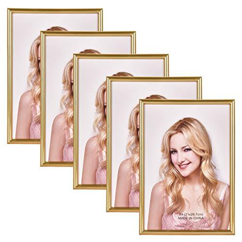 Alishomtll Bilderrahmen DIN A4 Bilderrahmen 5er Set, 21 x 29,7 cm, Fotorahmen Kunststoffrahmen Gold Set für Mehrere Bilder Fotos
