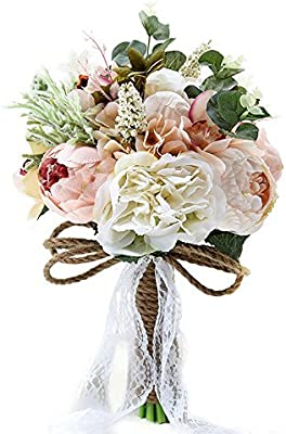 Amazon Com Pauwer Artificial Peony Rose Flower Bouquet For Bride