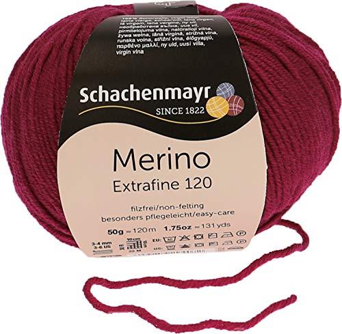 Schachenmayr since 1822 Merino Extrafine 120, 9807552-10132, color: Beere, presentación: 50g, Hilos para tejer a mano