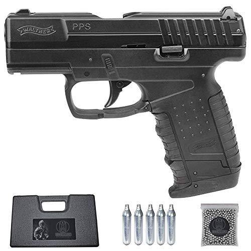 Ecommur. Walther PPS blowback | Pistola de perdigones (Bolas BB's de Acero) de Aire comprimido semiautomática 4,5mm + maletín + balines y CO2