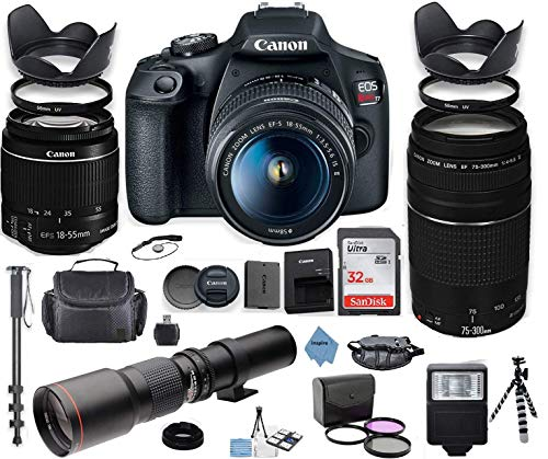 Canon EOS Rebel T7 DSLR Camera with 18-55mm is II Lens Bundle + Canon EF 75-300mm f 4-5.6 III Lens and 500mm Preset Lens + 32GB Memory + Filters + Monopod + Professional Bundle + Inspire Digital Cloth