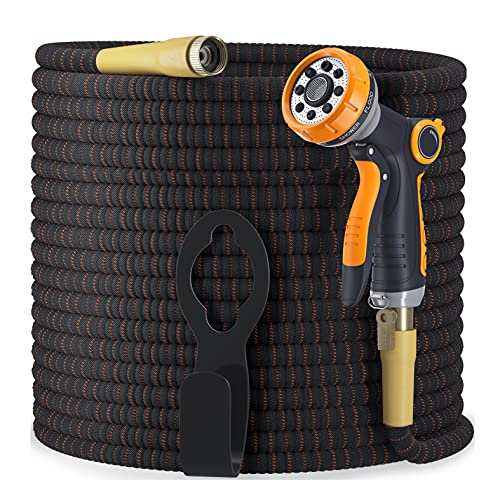 Expandable Garden Hose Kit 50-100 ft - Superior Strength 3750D - 4-Layers Latex, Extra-Strong Brass Connector- 8-Way Durable Zinc Water Spray Nozzle 2 Way Pocket Flexible (100FT SET)