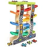 Lewo Kugelbahn Auto Holz mit 8 Fahrzeuge Auto Rennbahn Holz Spielzeug mit Parkplatz Holzrampe Racer...