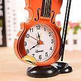 yzdhha Geige Wecker Instrument Geformt Tisch Tisch Uhr Wohnzimmer Kunststoff Ornament Sylching Student Uhr Uhr 9,4 x 4,5 x 14 cm rot