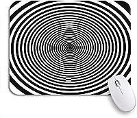 ROSECNY 可愛いマウスパッド ノートパソコン、マウスマット用の黒い催眠スパイラルホワイトサイケデリックスワール抽象アルキメデスオーディオノンスリップラバーバッキングマウスパッド