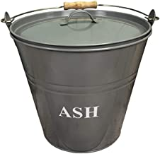 Fireside Ash Bucket with Lid in French Grey
