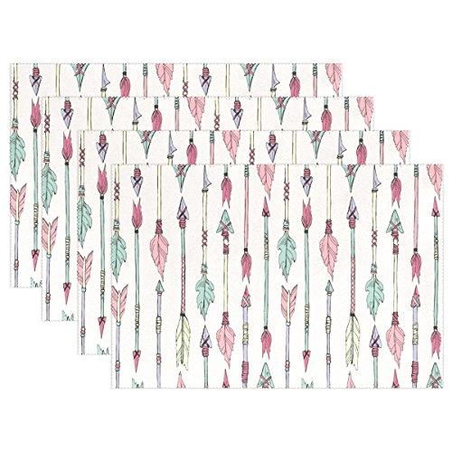 Jstel Native American Arrows Sets de table résistant à la chaleur lavable Sets de table 30,5 x 45,7 cm Sets de table de cuisine pour famille Hôtel Café Restaurant de salle à manger, Polyester, Set of 6, 12 x 18 inch