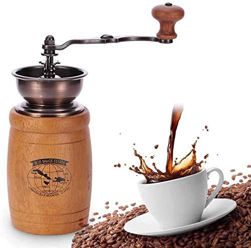 POUAOK Molinillos de café manuales para el hogar y la Oficina, molinillos manuales de Madera, manivelas, molinillos de café Vintage con núcleos de Hierro Fundido.