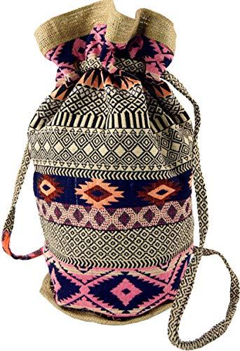 Guru-Shop Indischer Boho Rucksack, Ethno Schulterbeutel, Shopper - Beige/rosa, Herren/Damen, Baumwolle, Size:One Size, 48x20x18 cm, Ausgefallene Stofftasche