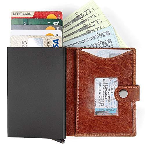 Bull Guard Slim Minimalist Wallet with RFID Blocking Card Case - Men's Pop Up Wallet In Premium Full Grain Leather