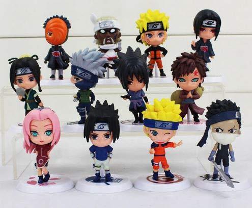 League Of Loveliness Lote 12 Figuras de Naruto Shippuden PVC Personajes Sasuke kawashi Sakura Gaara Itachi Obito Madara Killer Bee Mini 7cm