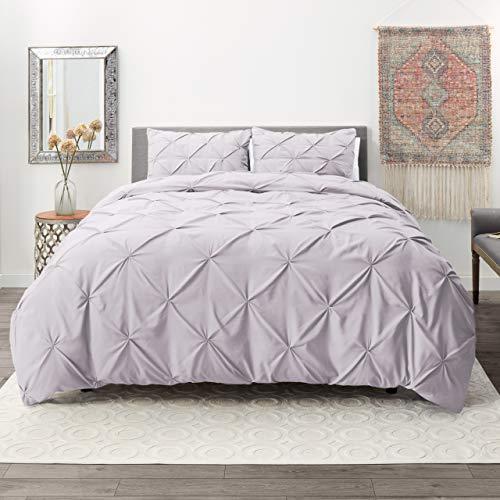 Nestl Bedding 3 Piece Pinch Pleat Duvet Cover Set | Lavender Duvet Cover with 2 Pillow Shams |Microfiber Full Duvet Cover Set