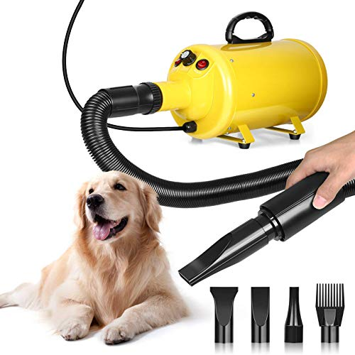 amzdeal Dog Dryer 3.8HP/2800W Stepless Adjustable Speed Dog Hair Dryer, Home Use/Professional Pet Grooming Blower, Pet Hair Force Dryer Blaster with Heat, Spring Hose, and 4 Different Nozzles, Yellow