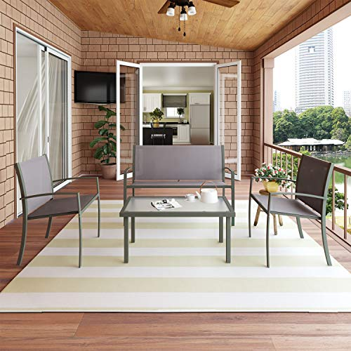 Modern Glass Coffee Table and Chair Set of 4, Rectangular Coffee Table Armchair Sofa with Metal Leg, Garden Furniture Set for Dining Room Living Room Patio Furniture