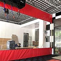 タープ ターポリン 赤いパーティションサイドパネル、 スプライシングカーテンスクリーン、 ガレージ、ポーチ、幅1〜4m用の0.5mm透明PVC防水防風断熱材 (Size : 1m x 5m(3ft×16ft))