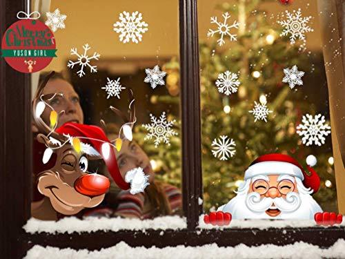 Yuson Girl Natale Addobbi Adesivi Decorazione per Finestre Vetri-Autoadesive Smontabile Adesivo Fiocco di Neve Natale Porta Finestra Sticker Murale Decal per Il Negozio al Dettaglio
