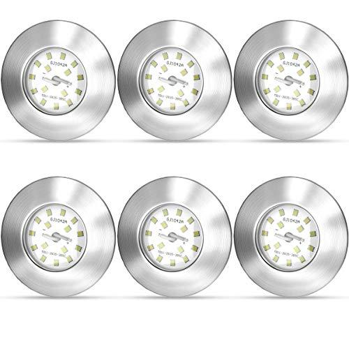 NAKHAL LED Einbaustrahler 230V Ultra Flach 5W 6er Set LED Spot Warmweiß Spots LED Set - LED Einbauleuchten LED Badeinbaustrahler - IP44 400lm 3000K Matt-Nickel