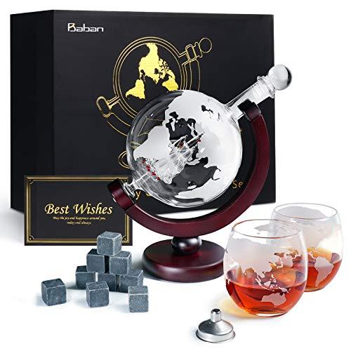 Baban Wisky Decanter Set, Decanter per Vino, Design del Globo, con 2 Vino Tazze, 9 Pietra di Vino Ghiaccio, Filtro, Carta Regalo - Regali da Uomo