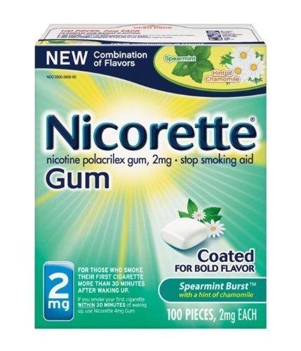 Price comparison product image Nicorette Spearmint Burst with Chamomile Flavor Nicotine Stop Smoking OTC Gum 2 mg - 100 Count
