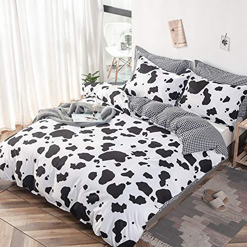 Yinghesheng Juego de Ropa de Cama Vaca 2/3 Piezas para Cama 90/150/180Cm Poliéster Funda de Edredón y Funda de Almohada 50X75cm Patrón de Vaca Impresión Funda Nórdica,135x200cm