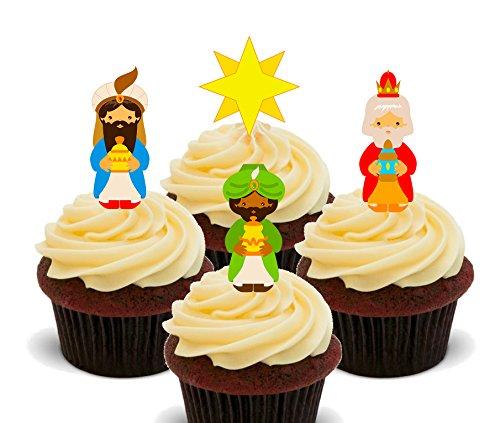 Made4You Three Wise Men (Los Reyes Magos) – Decoraciones comestibles para magdalenas – Oblea para decoración de tartas (paquete de 12)