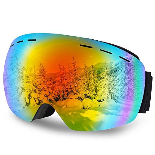 DIAOCARE Skibrille Herren Damen Doppel Objektiv 100% OTG UV-Schutz Anti-Fog Schneebrille,Schibrille Verspiegelt für Brillenträger, Helmkompatible Snowboardbrille (Rot)