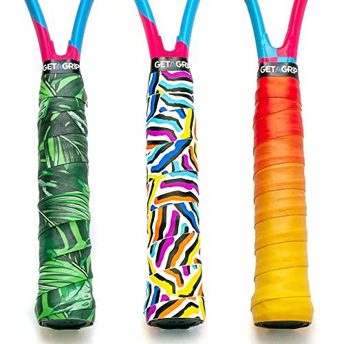 Get a Grip - Empuñaduras de tenis personalizadas - Cinta antideslizante y de tacto seco para raqueta de tenis (rebanada de color (3 agarraderas), 3 agarraderas)