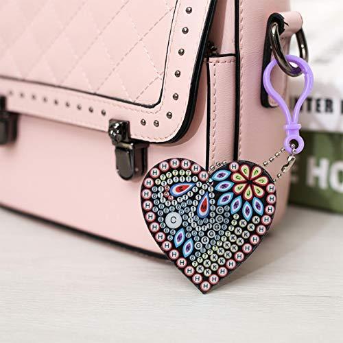 Emoshayoga Anillos de Llavero con Diamantes de imitación 5 pcs/Set DIY Llavero en Forma de corazón Mujer Niñas Decoración