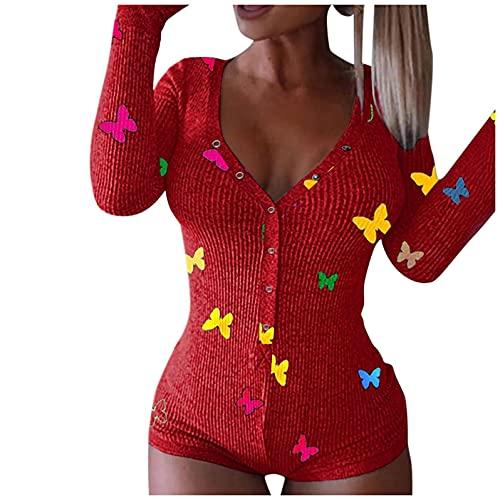 BIBOKAOKE Bodysuit Damen Sexy öffnung Langarm Overall Schlafanzug Schmetterlingsdruck Jumpsuit Pyjama Butt Button Back Flap Einteiler Pyjama Schlafanzug Schlank Trainingsanzug Hausanzug
