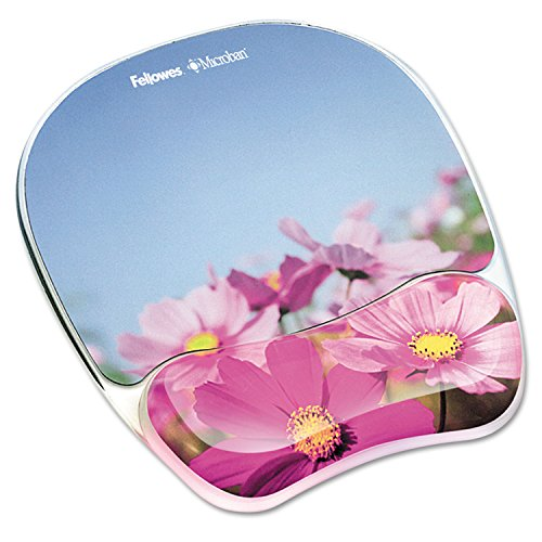 Fellowes Photo Gel Mouse Pad Wrist Rest with Microban Protection - Pink Flower - 0.9quot; x 9.3quot; x 7.9quot; - Multicolor - Rubber, Polyurethane, Gel