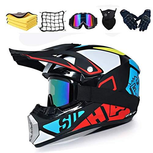 Casco motocross bambino,Casco da motocross set,casco da cross,Casco Integrale Da Motocross Adulti E Bambini,Casco da downhill integrale MTB,con asciugamano/rete per moto. (S 54-55cm)