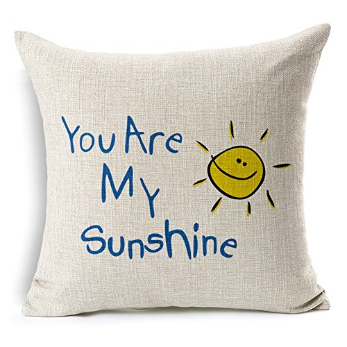 Poens Dream Cuscino, You are My Sunshine Printed Cotton Linen Decorative Pillow Cushion Cover, 17.7 x 17.7inches