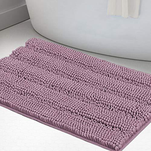 Non Slip Shaggy Bathroom Rugs Mauve Bath Rugs for Bathroom Chenille Bath Rugs for Bathroom 1 Piece Bath Mat Set Super Absorbent Shower Rug for Tub Mats, 20'x 32', Mauve