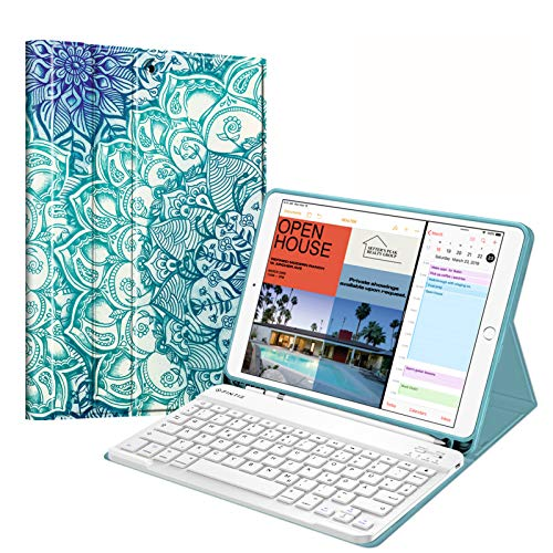 Fintie Keyboard Case for iPad Air 10.5 Inch 2019 (3rd Generation) / iPad Pro 10.5 Inch 2017, Soft TPU Back Protective Case with Pencil Holder, Magnetic Removable QWERTZ Keyboard, Emerald Blue