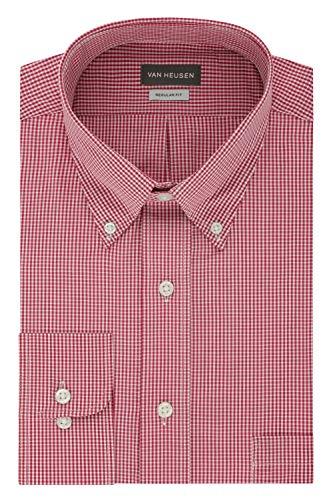 Van Heusen Men's Regular Fit Gingham Button Down Collar Dress Shirt, Red Henna, 3X-Large