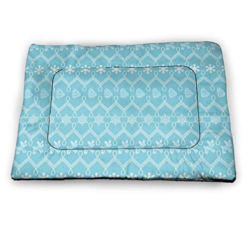 Arehji Retro Christmas Snow Pattern Non Slip Pet Bed Mat Washable Dog Mattress Pad Cat Blanket Cushion 18' x12