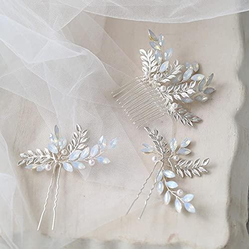 Peineta para el pelo para novia, con cristales de ópalo, pequeña peineta para novia, accesorios plateados, para bodas, joyas hechas a mano
