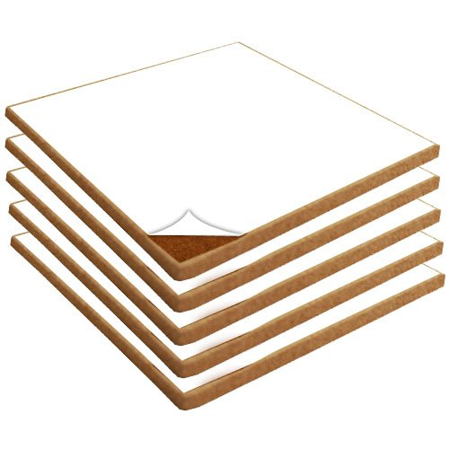 """Cork Sheets with Adhesive: 12"""" Wide X 12"""" Long X 3/32"""" Thick, 5 Pack"""