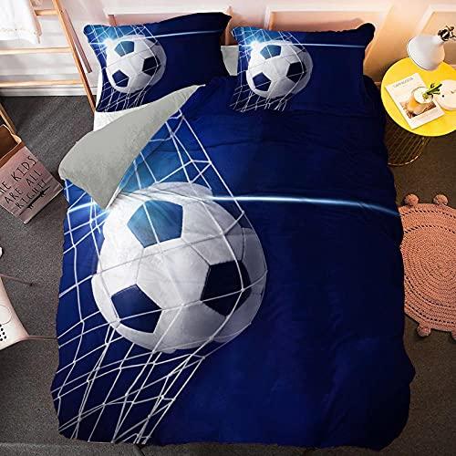 Fundas Nordicas Cama 180 Fútbol Azul Ropa de Cama 240x260 Fácil Cuidado Suave y Lisa - 2 Fundas Almohada de 50x75cm