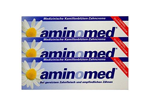 3x 75ml Aminomed bei gereiztem Zahnfleisch & empfindlichen Zähnen Kamillenblüten