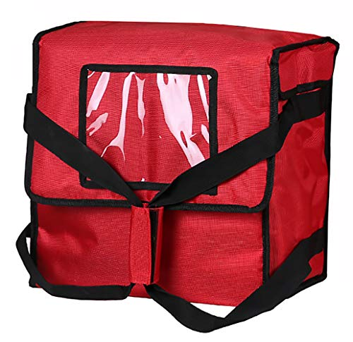 "Polyester Insulated Pizza/Food Delivery Bag 14""×14""×8"" for Four 12"" Pizza Boxes(Red) …"