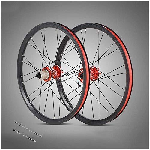 Juego de ruedas de bicicleta de montaña de 20 pulgadas, llantas de doble pared de 24 orificios, freno de disco híbrido de liberación rápida, ruedas de bicicleta de aleación de aluminio, ruedas de bici