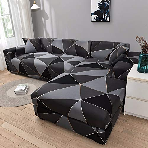 PPMP Funda de sofá geométrica Flexible para Sala de Estar Funda de sofá con Todo Incluido combinación de sofá Modular de Esquina en Forma de L A17 4 plazas